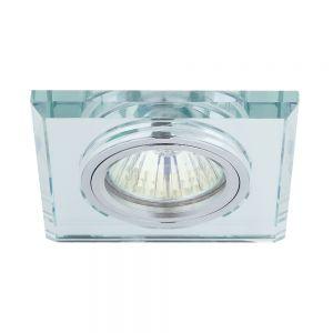 LHG Einbaustrahler mit Glasrahmen - Eckig - Silber - Inklusive Halogenleuchmittel 1 x GU10 35 Watt