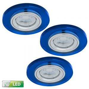 Einbaustrahler rund mit Glas blau, 3er Set LED GU10 5W