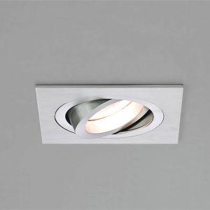 Einbaustrahler, Aluminium gebürstet, eckig, schwenkbar, LED geeignet