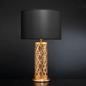 Elegante Tischleuchte - Blattgold mit Stofflampenschirm in Schwarz - Höhe 80 cm