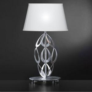 Elegante Tischleuchte - Lampenschirm in Weiß - Oberfläche in Blattsilber
