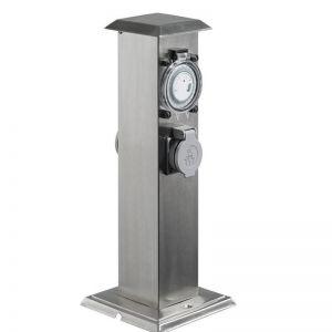 Energiesäule mit 2 Steckdosen und Zeitschaltuhr 2- fach- mit Zeitschaltuhr