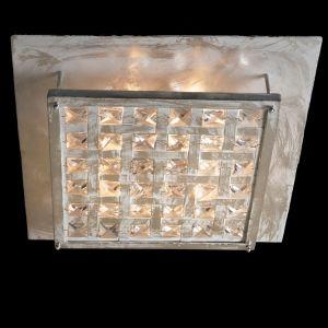 Exklusive Deckenleuchte - Blattsilber patiniert - Kristallglas
