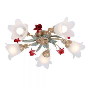 LHG Filigrane Deckenleuchte im Florentiner Stil - Metall - Weiß/Gold mit roten Rosen - 5-flammig