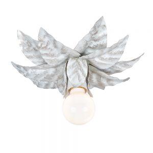 Filigrane Wand- oder Deckenleuchte - Metall - Antik -  Weiß 1x 60 Watt, weiß