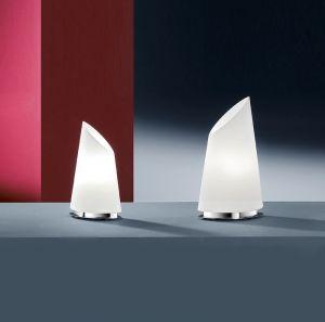 Formschöne Tischleuchte mit Opalglas, Höhe 42cm, mit Drehdimmer 1x 20 Watt, 42,00 cm, 13,00 cm, 24,00 cm, Drehdimmer