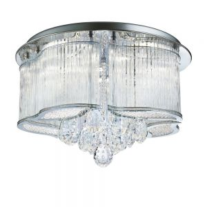 Funkelnde LED Deckenleuchte mit Glaskristallbehang - Chrom