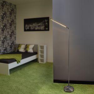 Futuristische LED-Stehleuchte aus Stahl in Nickel matt