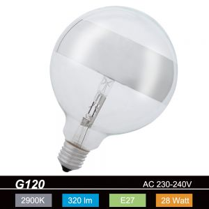 G120, Globe, Ringspiegel-silber, E27, 28 Watt
