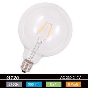 G125 Globe LED 6 Watt  E27 230V - entsprechen 50 Watt, Fadenleuchtmittel