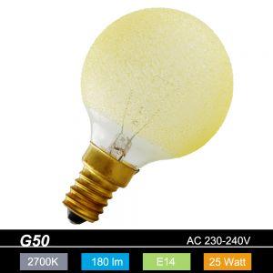 G50 Globe E14 Eiskristall bernstein 25 Watt