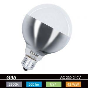 G95 Globe, Bodenspiegel-silber, E27, 42 Watt, Dm: 95mm
