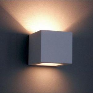 Gipswandleuchte Kubik 12 x 12cm Lichtaustritt symmetrisch 1x 60 Watt, weiß, unbehandelt, Lichtaustritt symmetrisch