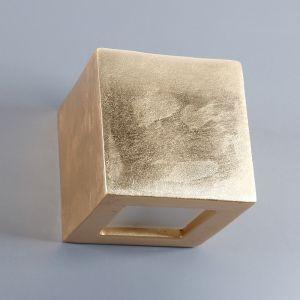Gipswandleuchte Kubik 12 x 12cm Lichtaustritt symmetrisch in Schlagmetall gold , gold, Blattgold, Lichtaustritt symmetrisch