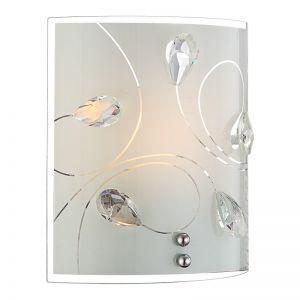 Glanzvolle 1-flammige Wandleuchte aus Opalglas mit Musterungen und klaren Kristallen