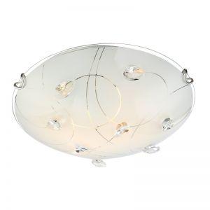 Glanzvolle 2-flammige Deckenleuchte aus Opalglas mit Musterungen und klaren Kristallen - 30cm Durchmesser
