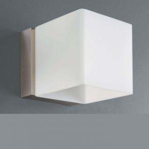 Halogen-Wandleuchte Modern Stahl gebürstet mit weißem Opalglas