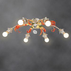 Handgefertigte Florentiner Deckenleuchte - Made in Italy - 6-flammig 6x 40 Watt, 24,00 cm, 80,00 cm, 58,00 cm