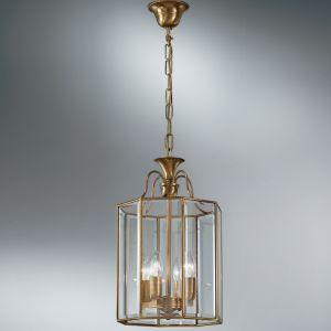 handgefertigte Pendelleuchte Höhe 39cm mit hochwertigem Kristallglas, in Gold 24 Karat vergoldet  Ø 28cm