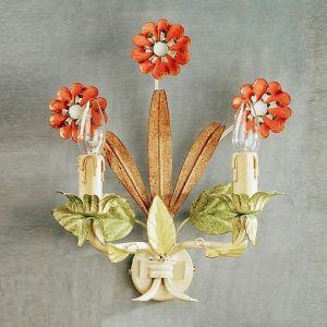 Handgefertigte Wandleuchte  - 2-flammig - Blumendekor - Made in Italy - Eisen lackiert - Farbe: Pastello
