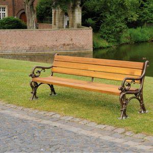 handgeschmiedete Gartenbank,  Belinga Holz
