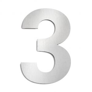Hausnummer 3 aus Edelstahl, groß Hausnummer 3
