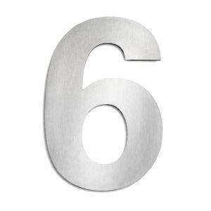 Hausnummer 6 aus Edelstahl, groß Hausnummer 6