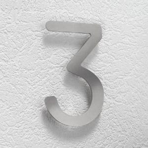 Hausnummer 3 aus Edelstahl, klein Hausnummer 3