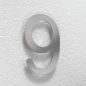 Hausnummer 9 aus Edelstahl, klein Hausnummer 9