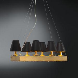 Hochwertige Pendelleuchte mit Stofflampenschirmen in Schwarz - 10-flammig - Für Leuchtmittel E14  40 Watt