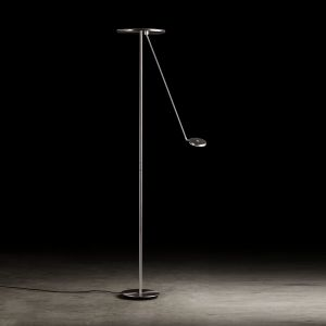 Holtkötter LED-Standfluter Plano L mit Tastdimmer, Lesearm, Alu-matt aluminiumfarben, matt