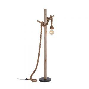 Holzbalken Standleuchte mit gedrehtem Seil und Fußschalter, Vintage Filament Seil-Leuchte