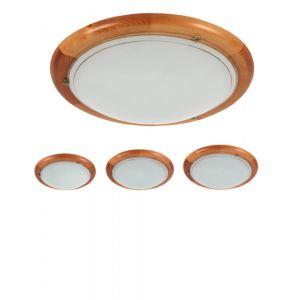 Holzleuchte Tiva mit Erlenholz und Opalglas