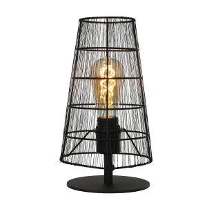 industrielle E27 Tischleuchte konische Käfigleuchte schwarz matt Tischlampe Filament-Leuchte 17 x 29 cm