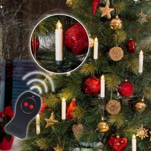 Innen LED-Baumbeleuchtung, 10 kabellose weiße Kerzen, mit Fernbedienung