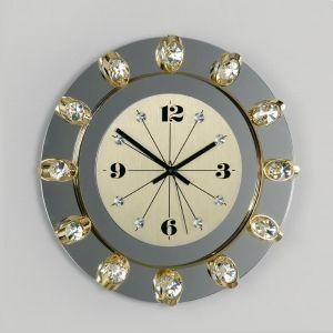 24 Karat vergoldet, Wanduhr mit Bleikristallsteinen