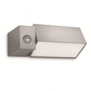 Kastige Außen-Wandleuchte mit beweglichem Leuchtenkopf - Mit Bewegungssensor - Aluminium - Kunststoff - grau grau