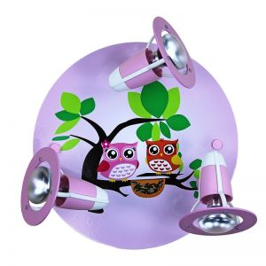 Kinderzimmer-Rondell mit Eulenfamilie in rosa bunt/rosa