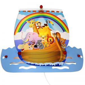 Kinderzimmer-Wandleuchte Arche Noah mit vielen Tieren