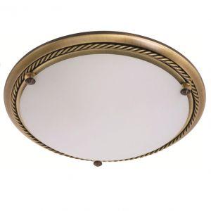 Klassische Deckenleuchte -  Bronze - Opalglas weiss - 29 cm Durchmesser