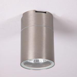 kleine LED Edelstahl Aufbauleuchte rund, H 9,2 cm, inkl LED 7W warmweiß, Deckenleuchte