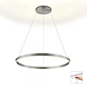 Knapstein LED Pendelleuchte Ø 80 cm, Gestensteuerung, up & down, Nickel matt