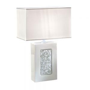 Kolarz® Tischleuchte,Toscana Silver mit Schirm in weiß
