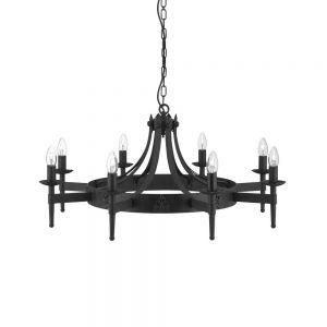 Kronleuchter Cartwheel in matt Schwarz 8-flammig