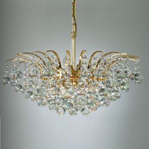 Kronleuchter mit Kristall, 24 Karat vergoldet, Ø70cm, 12-flg 12x 30 Watt, 30,00 cm, 70,00 cm