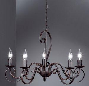 Kronleuchter, 5-flammig, rostfarbig antik, Landhaus, D=60cm, dekorativ