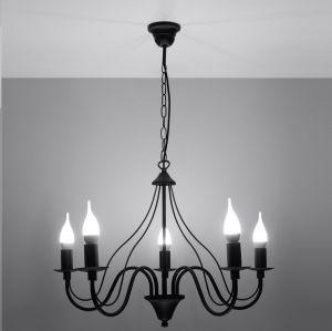 LHG Kronleuchter, 5-flammig, schwarz, Landhausstil, D=80cm, LED möglich