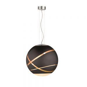 Kugel Pendelleuchte Faro aus schwarzem Glas Ø 50cm