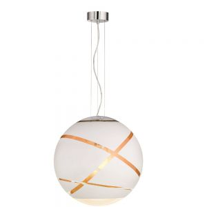 Kugel Pendelleuchte Faro aus weißem Glas Ø 50cm