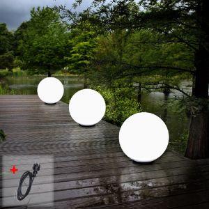 LHG Kugelleuchten, 3er Set, 2 x 40cm & 1 x 60cm, mit Kabel, Gartenlampen